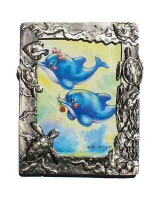 "Metal Picture Photo frame SEA LIFE, 3 1/2 x 5"" Pewter Finish frame Turtles Fish"