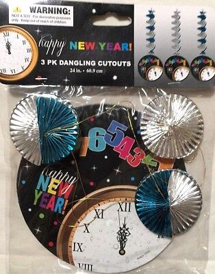 Happy New Year Foil Dangling Paper Cutouts New Years Eve Party Celebration 1 7A
