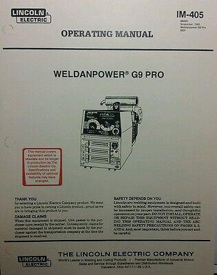 Lincoln Weldanpower G9 Pro 250 Welder Onan Operating Service Parts 4 Manuals