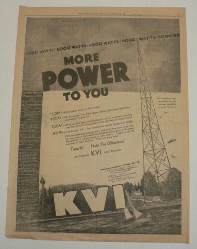 KVI Radio Station 1936 Full Page Original Newspaper Ad