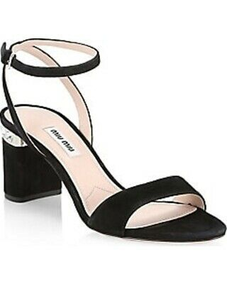 Miu Miu Jewel Heel Embellished Sandals Size 39.5 MSRP: $750.00