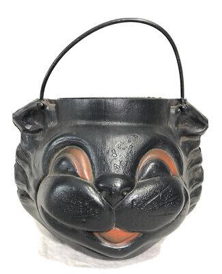 Vintage Empire Blow Mold Trick Or Treat Pail Black Cat Face Pail