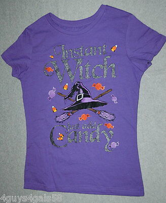 Womens Tee Shirt HALLOWEEN Instant Witch Add Candy S 4-6 M 8-10 L 12-14 XL 16-18](Top Halloween Candy 10)