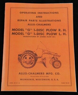 Allis Chalmers Model G 1 Disc Turning Plow Owners Parts Manual Ac Rh Lh