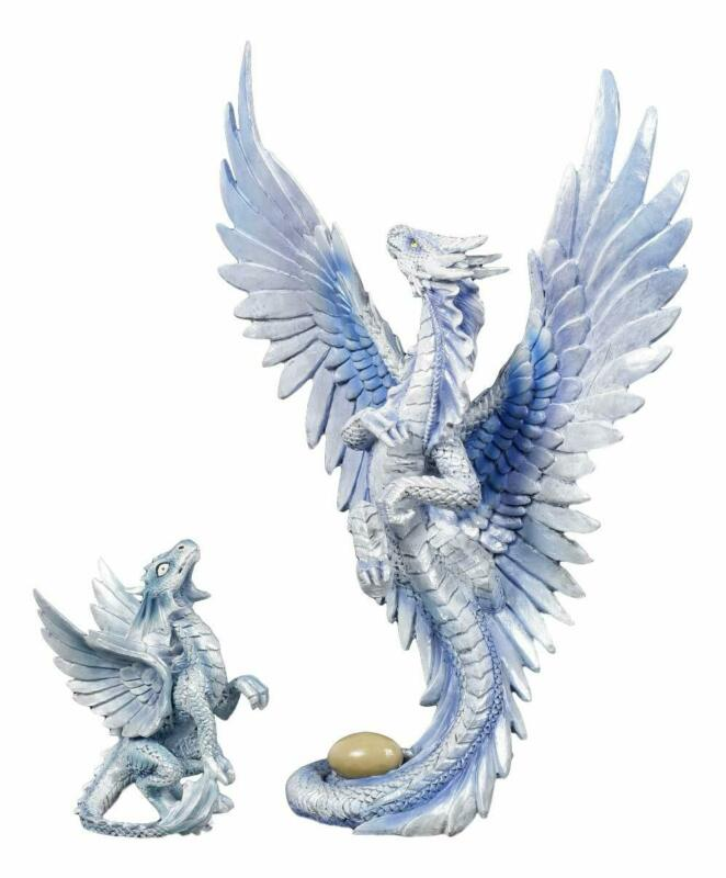 Ebros Mother And Baby Cloud Wind Dragon Wyrmling Statue Figurine SET OF 2