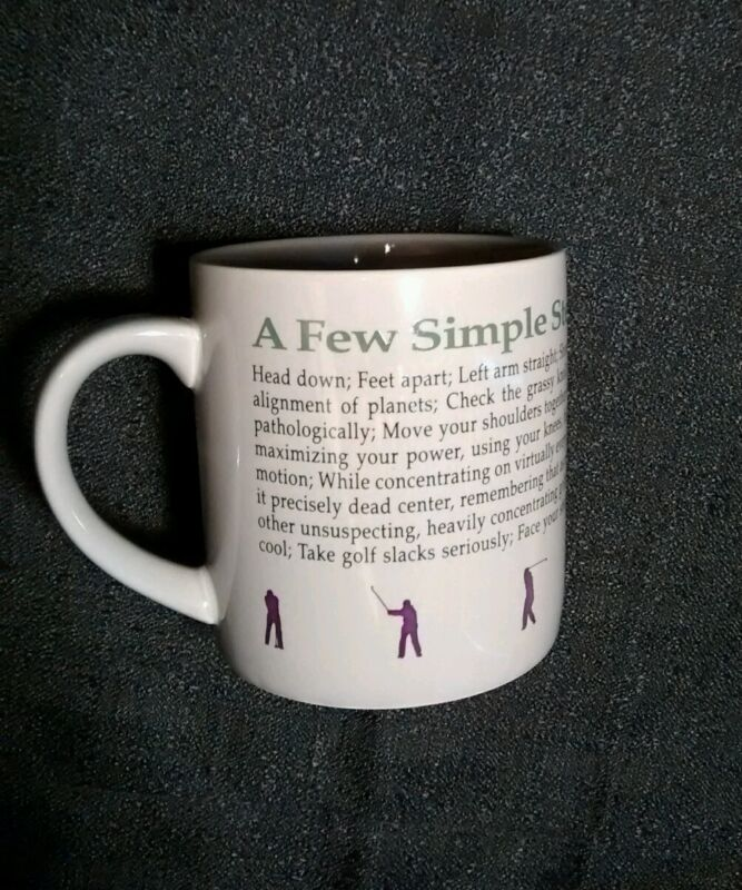 RARE Perfect Golf Swing Recycled Paper Coffee Mug Tea Cup Club Ball Simple Steps