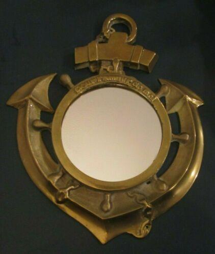 Vintage Heavy Brass Nautical Anchor Porthole Mirror Pour L