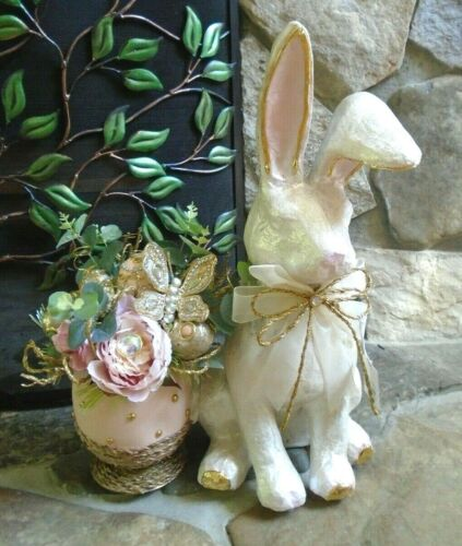 Pier 1 Off White Capiz Bunny & Faux Floral Arrangement