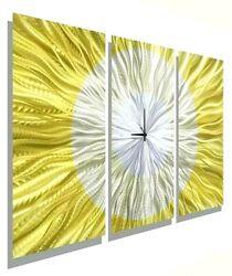 Metal Wall Art Clock  Modern Wall Sculpture Abstract Gold/Silver  by Jon Allen