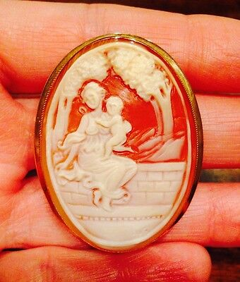 RARE LARGE! Signed FRONT & BACK CARVED CAMEO Pendant BROOCH Pin 14K GOLD ITALIAN Cameo Italian Pin Pendant