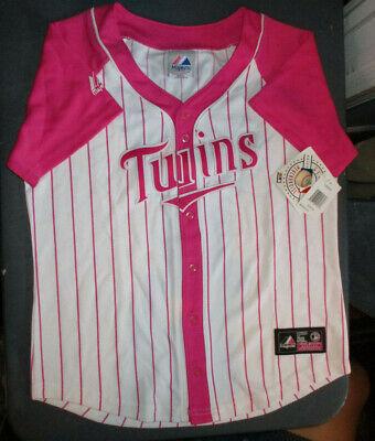 NWT MAJESTIC $65 MINNESOTA TWINS MLB REPLICA JERSEY PINK/WHITE GIRLS LARGE (Girls Pink Replica Jersey)