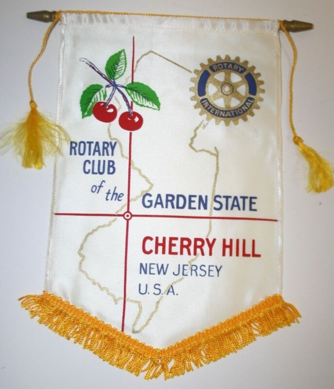 WOW Vintage Cherry Hill New Jersey International Rotary Club Wall Hanging Banner