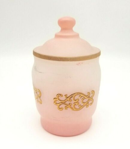 Vintage Pink Frosted Glass Vanity Jar with Lid