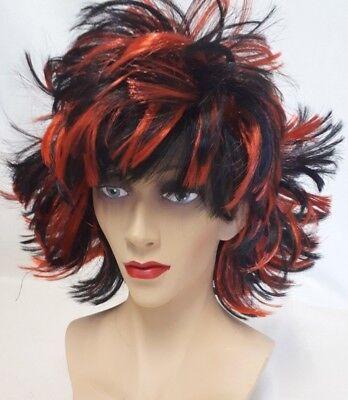 elin Kurzhaarperücke rot/schwarz 80er Halloween 129045713 (Rotes Haar Perücken Halloween)