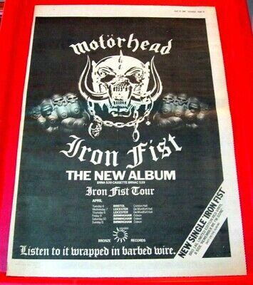 Motorhead Iron Fist/UK Tour Vintage ORIG 1982 Press/Magazine ADVERT Poster-Size