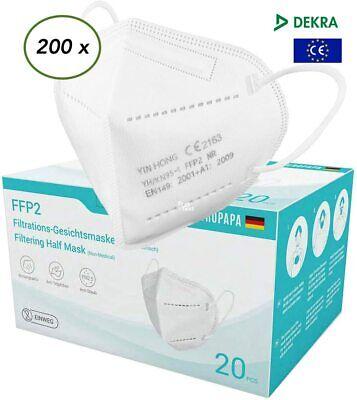 200 x FFP2 Atemschutzmaske CE 2163 Zertifiziert Dekra geprüft 5-lagig EUROPAPA
