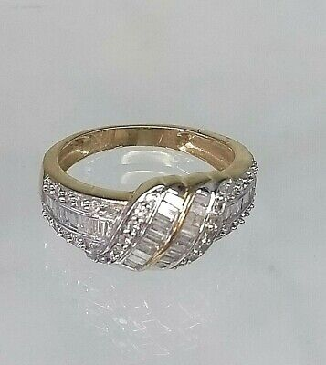 Vintage 9ct Yellow Gold Hallmarked .50 Diamond Cluster Ring STUNNING sz P1/2