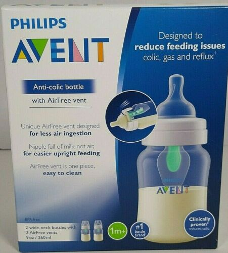 Philips Avent Anti Colic Baby Bottle Clear 9 oz Wide Neck AirFree Vents 2 Pack