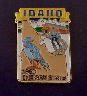 Idaho State Shaped Map Lapel Pin ID 1890 THE GEM STATE/flag BLUEJAY