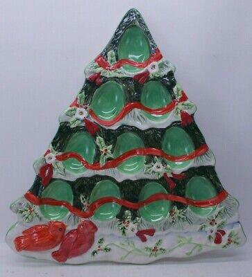 Winter Wonderland Christmas Tree Shaped Deviled Egg Plate in Box Susan Winget