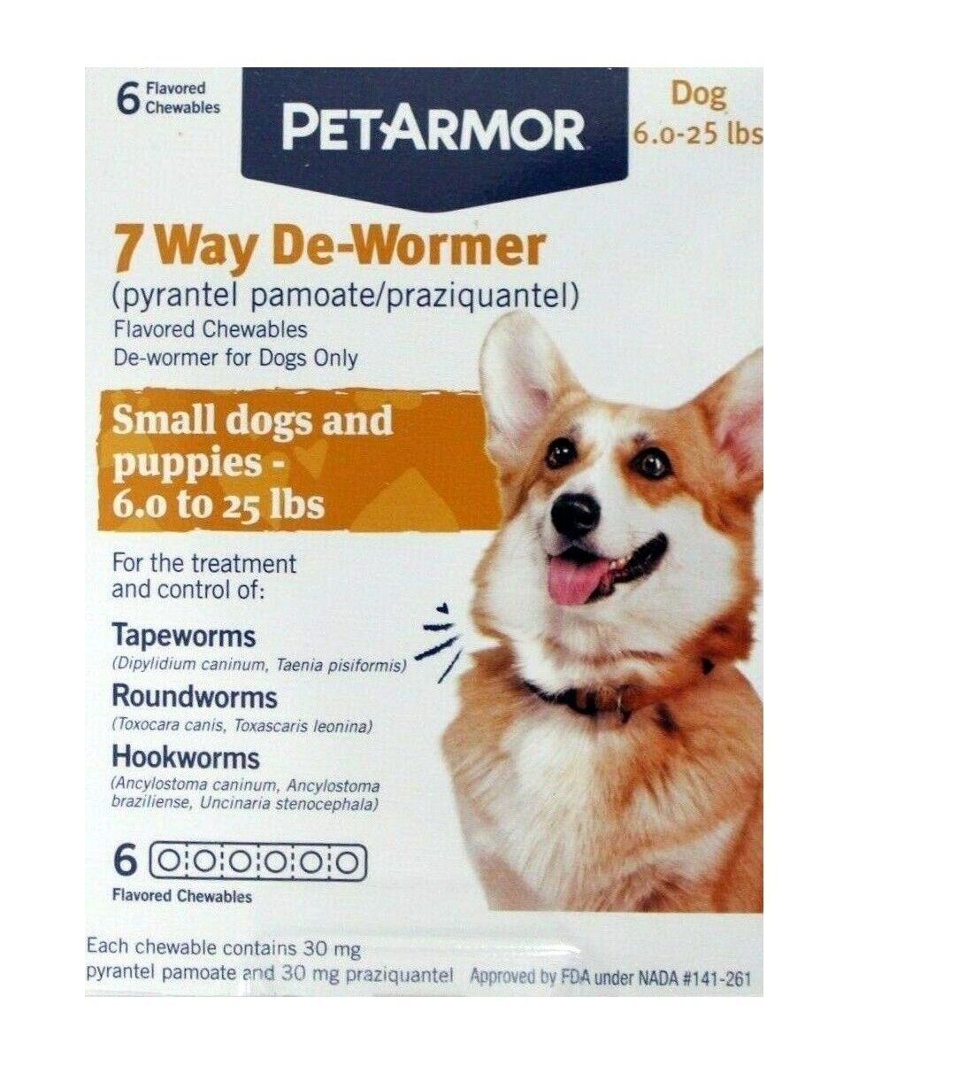 PetArmor 7 Way De-Wormer Small Dogs Puppies 6 To 25 Lbs 6 Tabs - RETAIL PACK - $12.99