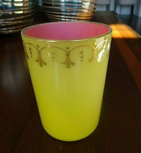 Victorian Yellow Pink Cased Glass TUMBLER Antique Fleur de Lis