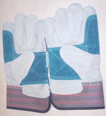 12 Pr Double Palm Canvas Back Split Shoulder Leather Work Gloves Size Large