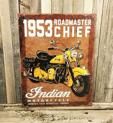 Indian Motorcycle Chief 1953 Roadmaster Metal Tin Sign Vintage Rustic Garage New