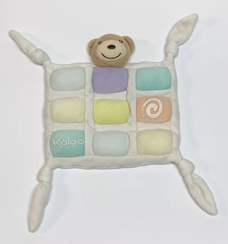 Kaloo Baby Lovey Security Blanket Teddy Bear Knotted Squares Pastel Plush