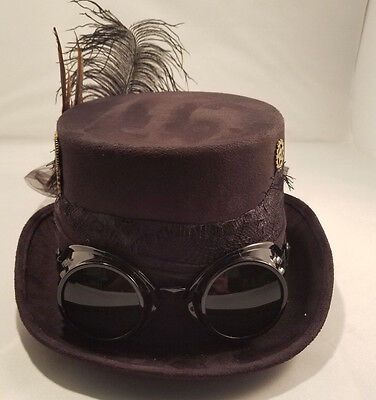 Deluxe Ladies Black Steampunk Hat w Goggles Victorian Industrial Adult Size](Velvet Goggles)