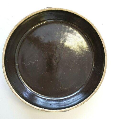 """L👀K Vintage Brown Glazed Stoneware Pie Baking Dish Plate Around 9-10""""🔥"""