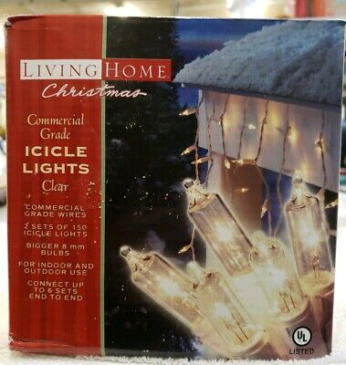 Living home, Icicle lights, 2 set of 150 count commercial grade Christmas lights