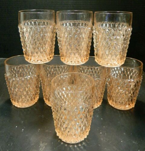 Vintage Set of (8) Diamond Point Pink Depression Glass Tumblers Excellent Cond