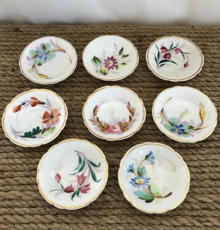 8 Vintage Hand Painted Porcelain Individual Butter Pats Salt Dip Floral And Gold
