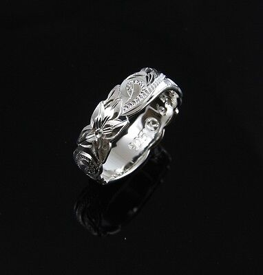 (6MM STERLING SILVER 925 HAWAIIAN BAND RING PLUMERIA FLOWER SCROLL CUT OUT EDGE)