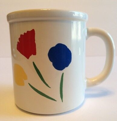 Marimekko by Pfaltzgraff Three Flowers Mug White w/Primary Colors Discontinued
