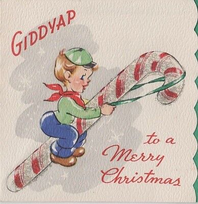 VTG CHRISTMAS POP UP HEAVY SILVER GLITTERED LITTLE BOY RIDING CANDY CANE CARD