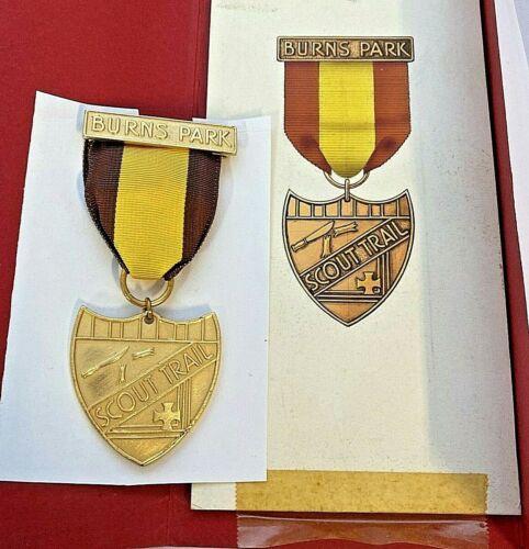 "Vintage Boy Scout ""BURNS PARK"" Trail Badge with Original Artwork"