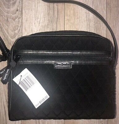 NWT NEW AUTHENTIC VERA BRADLEY TRIMMED CROSSBODY BLACK  MICROFIBER $109.00