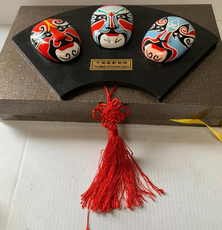 Asian Mask of Chinese Opera Orient Craft Collectible China Wall Decor With Case