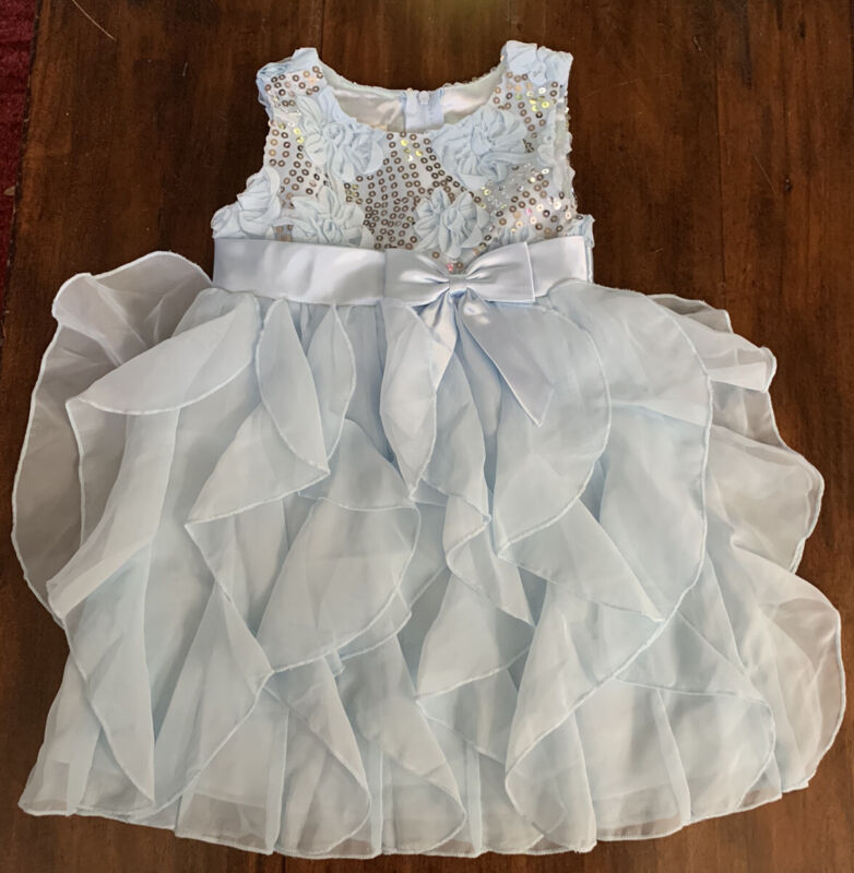 American Princess size 3T formal Baby Blue Formal Dress Party Sequin Flower Girl