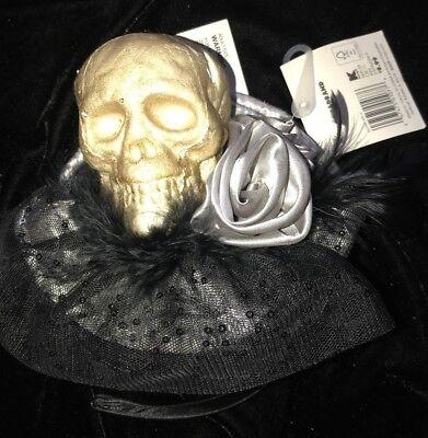 Skull Headband Halloween (girls black FANCY HALLOWEEN HEADBAND SKULL LACE SILVER ROSE FLOWER NEW msrp)