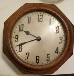 Vintage New Haven Clock Co Oak Octagon Clock wall clock - not working.