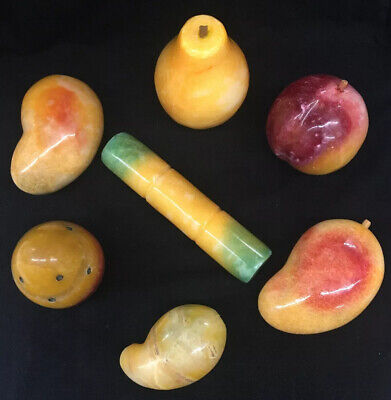 Life Size Stone Fruit Mangoes Sugar Cane Pear Peach Prickly Pear Lot Of 7 Mango Sugar Cane