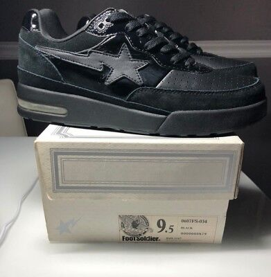 A Bathing Ape Bape Bape Sta Roadsta FootSoldier Sz US 9.5 BLACK AOYAMA CITY