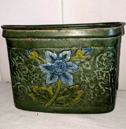 "Beautiful 7"" Antique Enamel Planter"