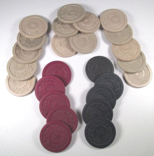 (25) Crescent Moon & Star - Embossed Poker Chips - Red, Blue & White