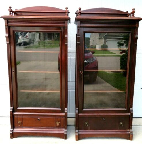 Matched Pair of Mid 19th Century Solid Walnut Victorian Bookcases
