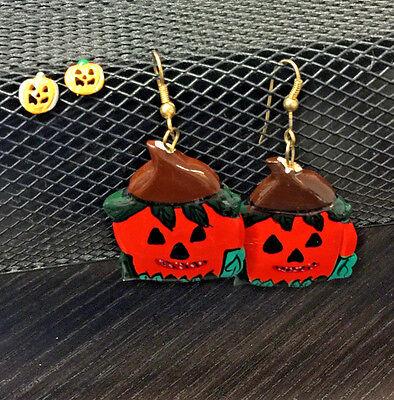 Halloween Scare Crow Head Painted Pumkpin Dangle Earrings