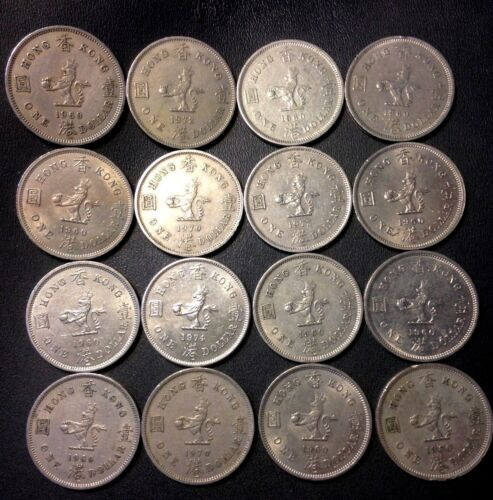 Old Hong Kong Coin Lot - 16 OLDER LARGE Type Dollar Coins - FREE SHIPPING